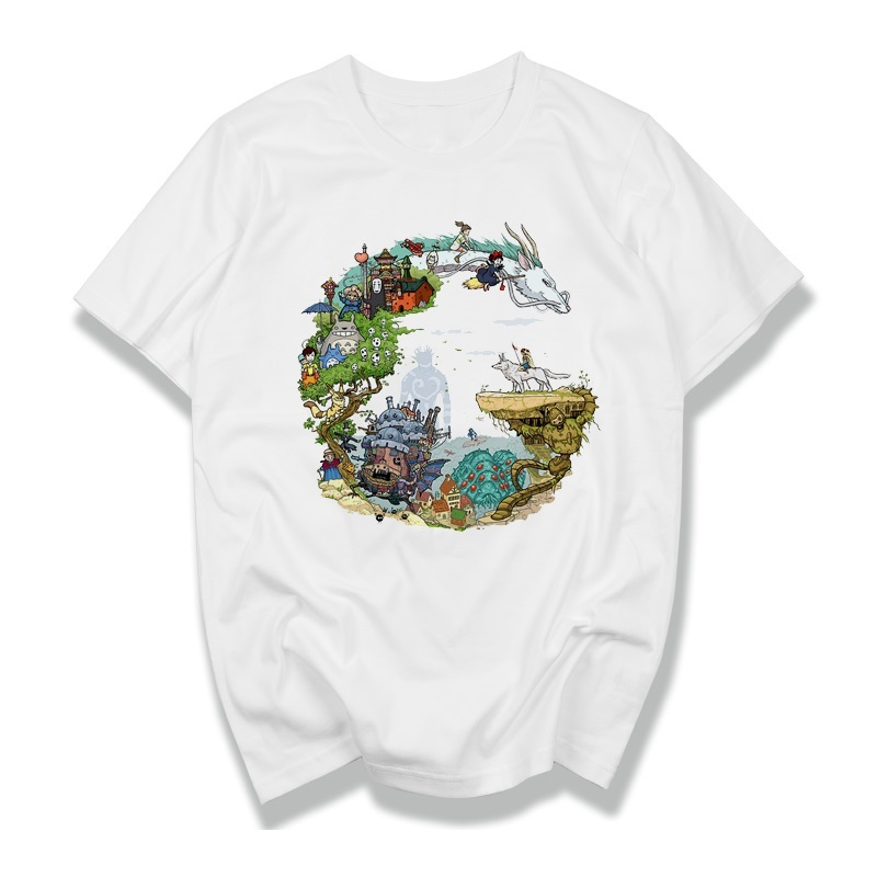 Studio Ghibli Miyazaki Hayao Anime Spirit Away Mask No Face Bank Totoro Cartoon Men Women Clothes Summer T-Shirt  Dragon