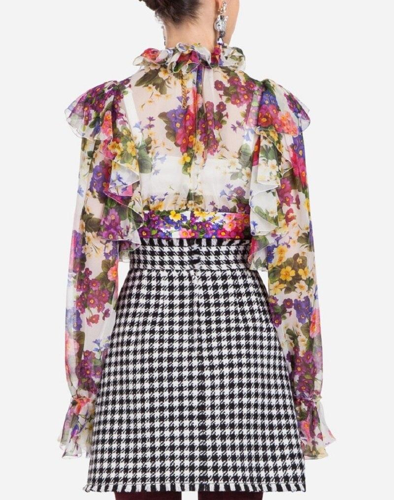 Stilvolle Langarm Runway R Frauen Blusen Blumendruck Shirt Winter 2018 PkuTilZwOX