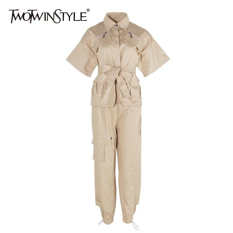 TWOTWINSTYLE Summer Solid Women Two Piece Set Lapel Short Sleeve Lace Up Shirt High Waist Drawstring