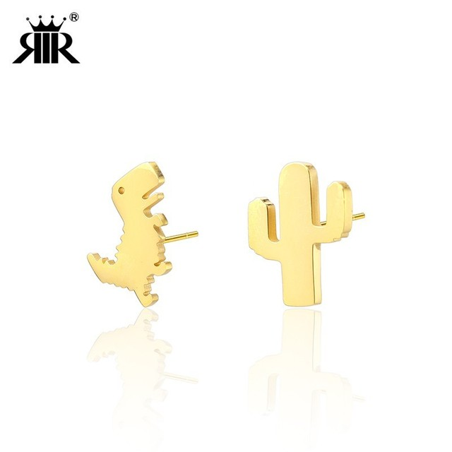 US $1.91 10% OFF|RIR Stainless Steel Statement Tyrannosaurus Rex Gold  Dragon Stud Earrings Dinosaur Desert Cactus Plant Jewelry For Women -in  Stud ...