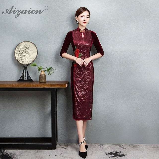 cfa4a4f2 Fashion Velvet Cheongsam Wedding Oriental Evening Dress Traditional Chinese  Clothing Women Chipao Qipao Casual Gold Brocade