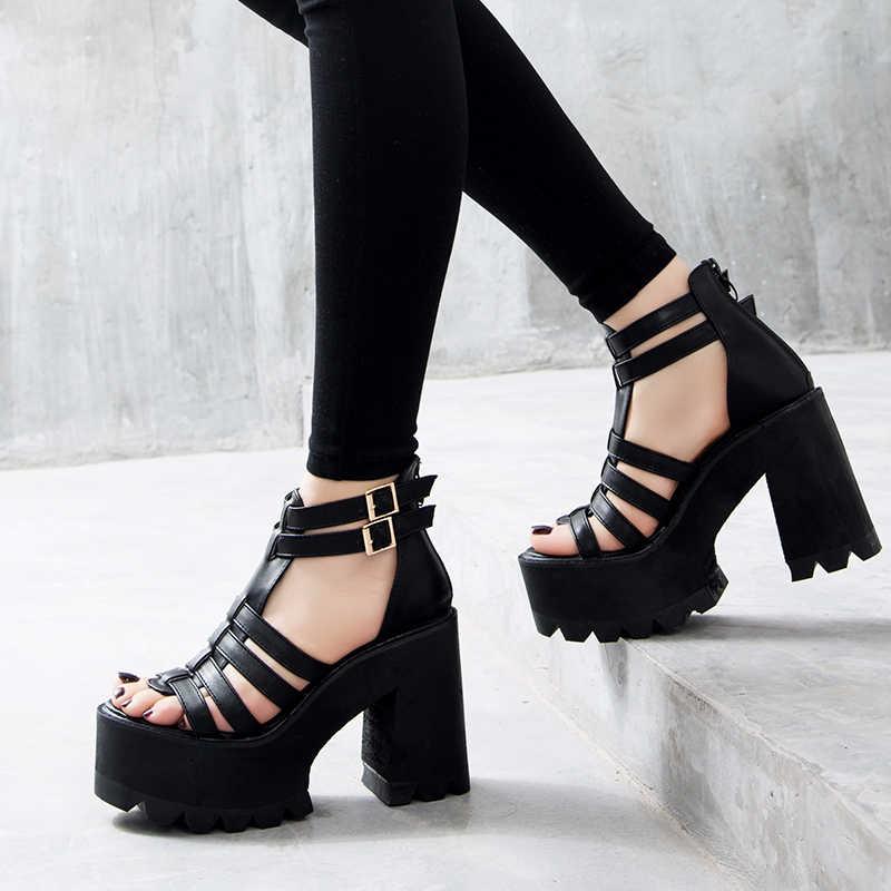 Sandalias de tacón grueso zapatos punk sandalias tacones altos sandalias de plataforma mujeres zapatos de verano sandalias romanas sandalias de mujer YMA160