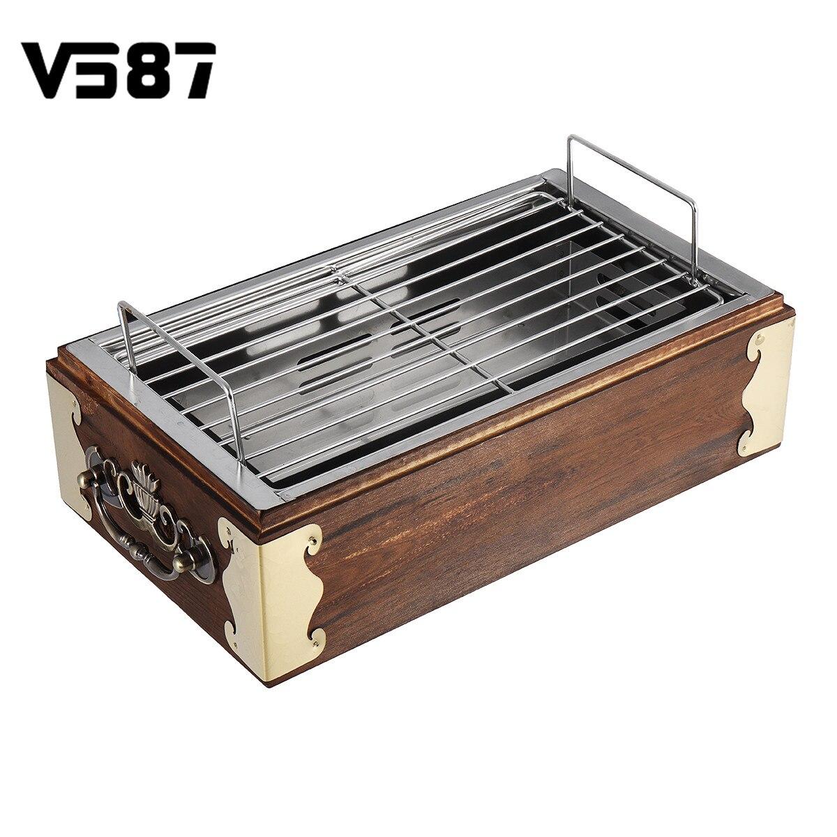 Portable bois acier inoxydable Barbecue Grill alimentaire Barbecue outils de cuisson charbon de bois Barbecue poêle CampingBBQ outils accessoires de cuisine
