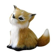 Simulation Cute Fox Plush Animal Realistic Home Decoration Lovely Artificial Desk Ornament Car Interior 2019 New