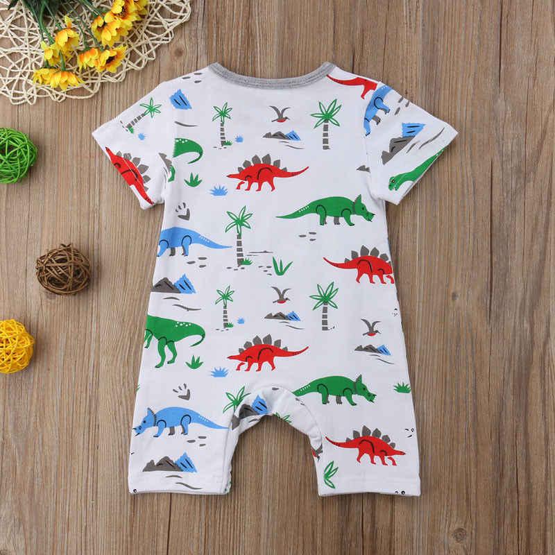 Одежда для маленьких мальчиков и девочек с принтом динозавра комбинезон для младенцев в полоску с короткими рукавами летняя повседневная одежда для новорожденных