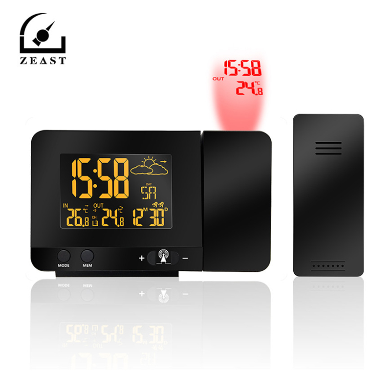 ZEAST LCD Digital Projection Alarm Clock Wireless Weather Station Projection Clock with Date Dual Alarm Snooze FunctionZEAST LCD Digital Projection Alarm Clock Wireless Weather Station Projection Clock with Date Dual Alarm Snooze Function