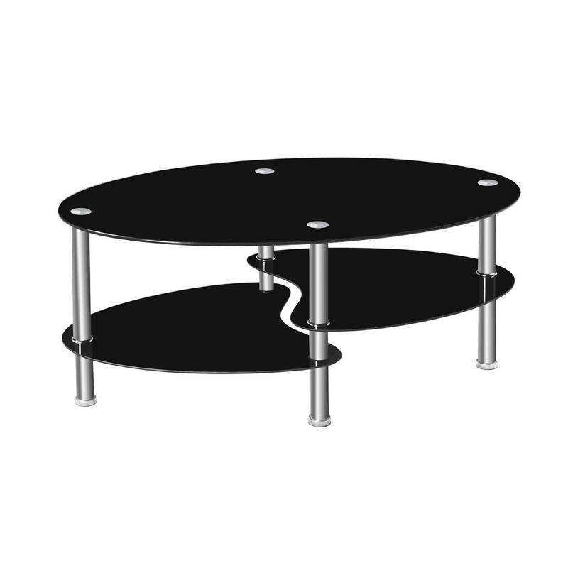 Dual Fishtail Style Tempered Glass Oval Side Coffee Table Shelf Chrome Base Living Room Black Modern Coffee Table(China)