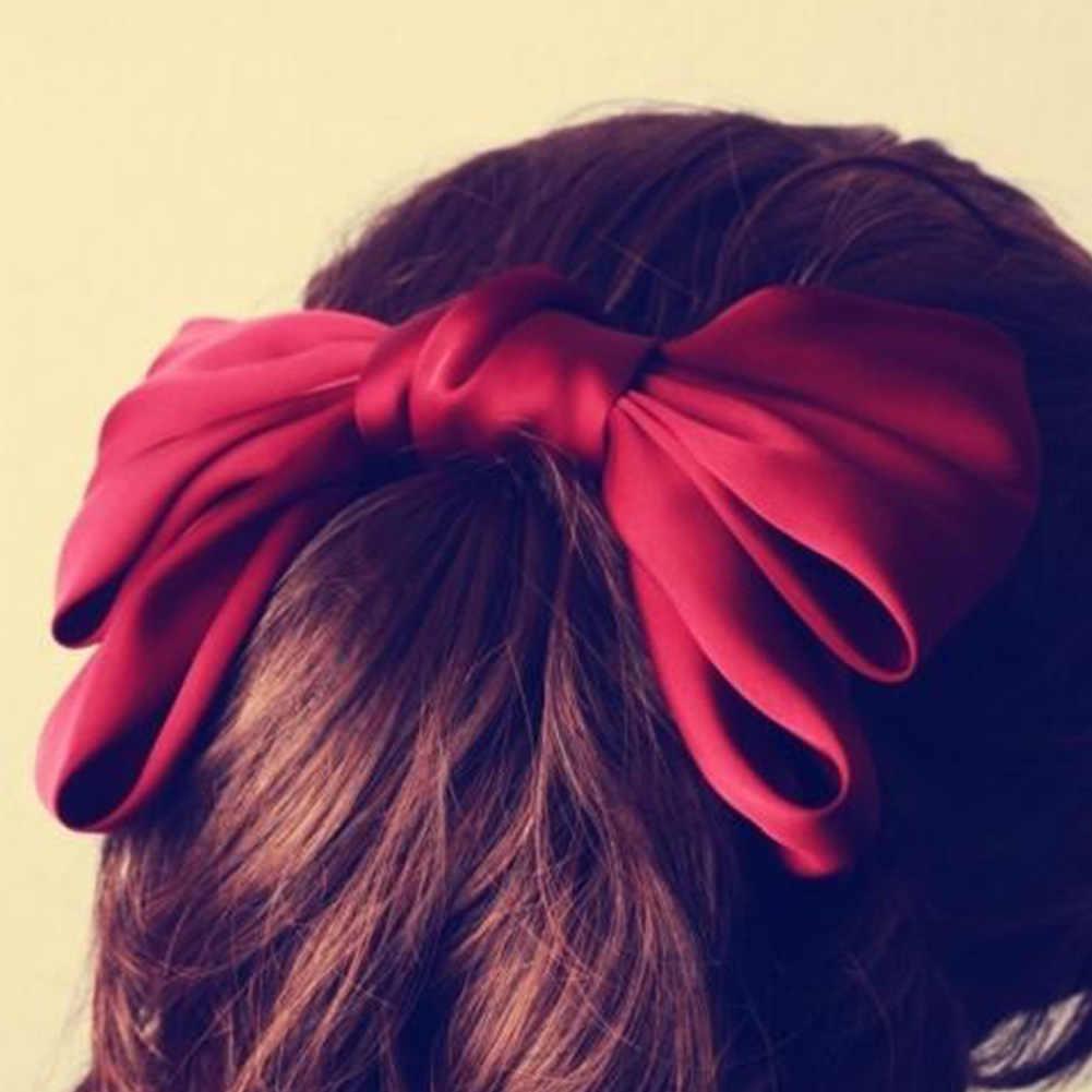 ขนาดใหญ่Bowknotคลิปผมหญิงผ้าไหมซาตินโบว์BarretteคลิปผมDIY Big Bowknot Hairclipsสีชมพูไวน์สีแดงอุปกรณ์เสริมผม