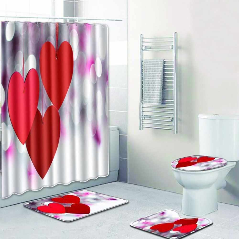 Shower Curtain 4pcs Non Slip Toilet Polyester Cover Mat Set Bathroom Bathroom Products General Purpose Non-slip Colorful