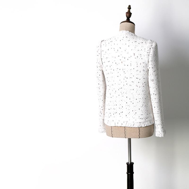 Printemps Survêtement Femmes Points Manteaux Tricoté Blanc Tweed Diamants Jc2396 Boutons Élégant Poitrine Automne Vestes Gland Unique w448BqOF