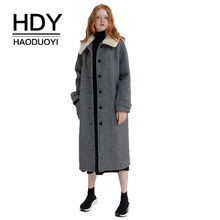 HDY haoduoyi Retro Minimalist Faux Fur Lapel Detachable Plaid Outweaters H-shaped Slim Long Coat(China)
