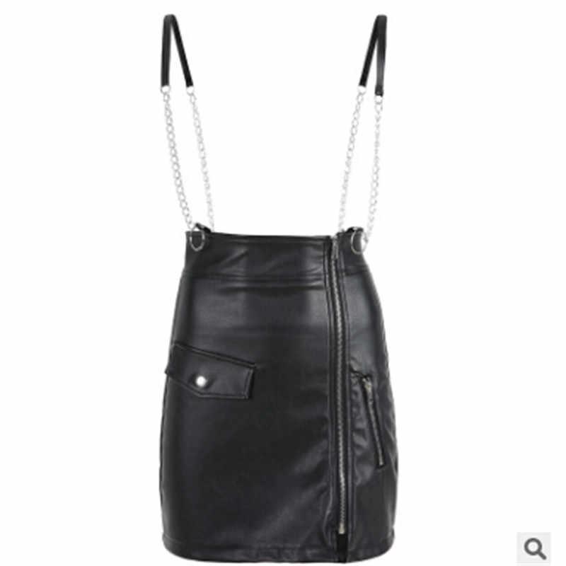 Women Bodycon Zipper Skirt High Waist Stretch Sling Pencil Pu Leather Short  Skirts Solid Black Ladies 5d771e1eca22