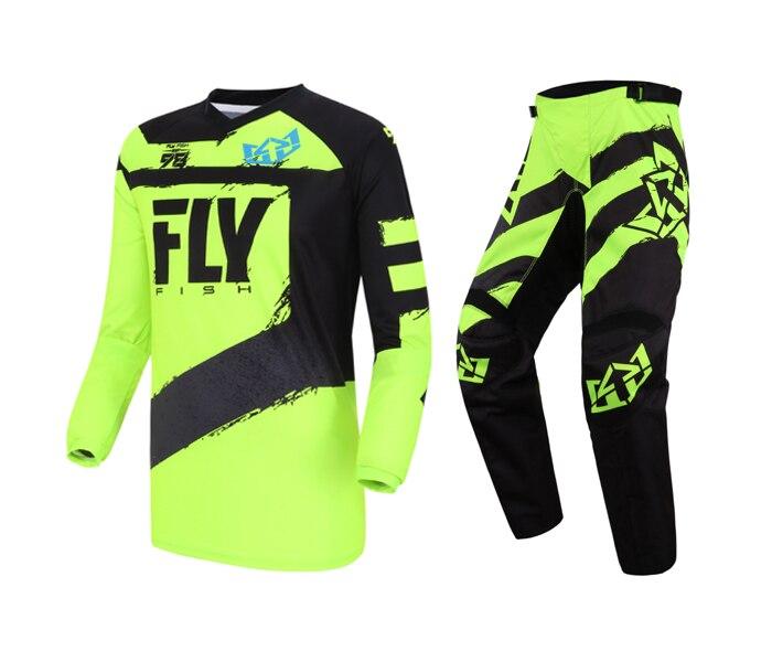 Fly Fish Racing Black Hi Vis F 16 Jersey Pant Combo Set MX ATV BMX MTB