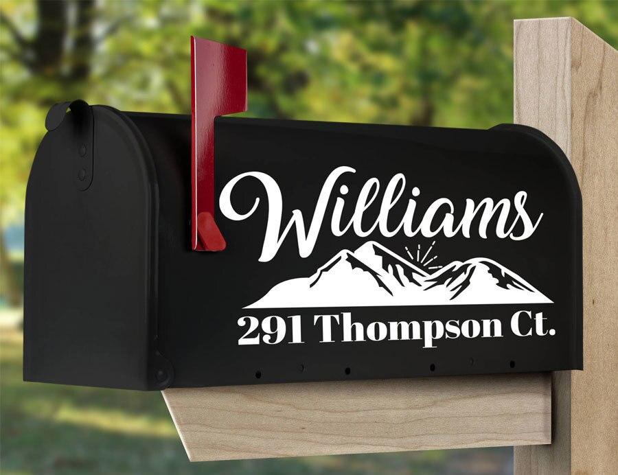 Us 2 36 47 Off Monogram Mailbox Decal With Mountain Design Personalized Mailbox Address Decal Set Of 2 Wedding Mailbox Vinyl Sticker Diy Em09 In