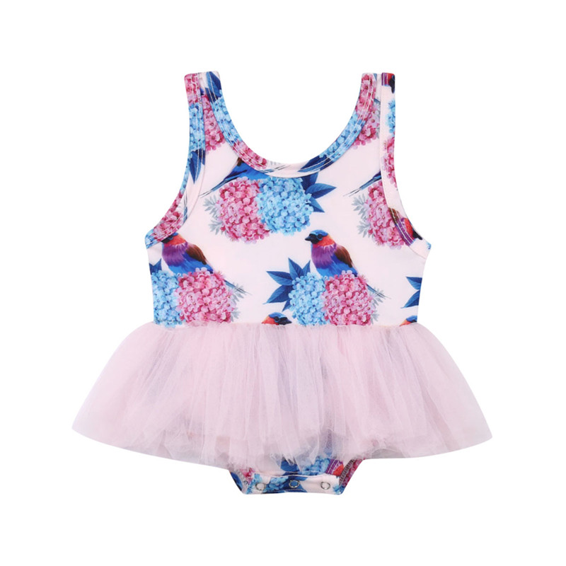 2019 Baby Mädchen Bademode Kinder Badeanzug Sommer Kleinkind Vögel Drucken Floral Tüll Badeanzug Bademode Schwimmen Anzug Online Shop