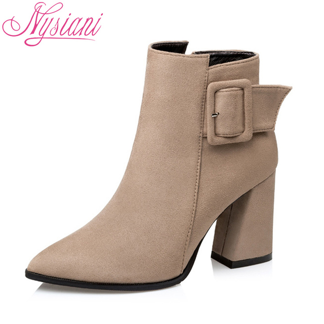 a29928c4425 US $28.38 39% OFF|2018 Women Thick Heel Ankle Boots Belt Buckle Autumn  Winter Fashion Pointed Toe Sexy High Heels Short Boots Women Nysiani-in  Ankle ...