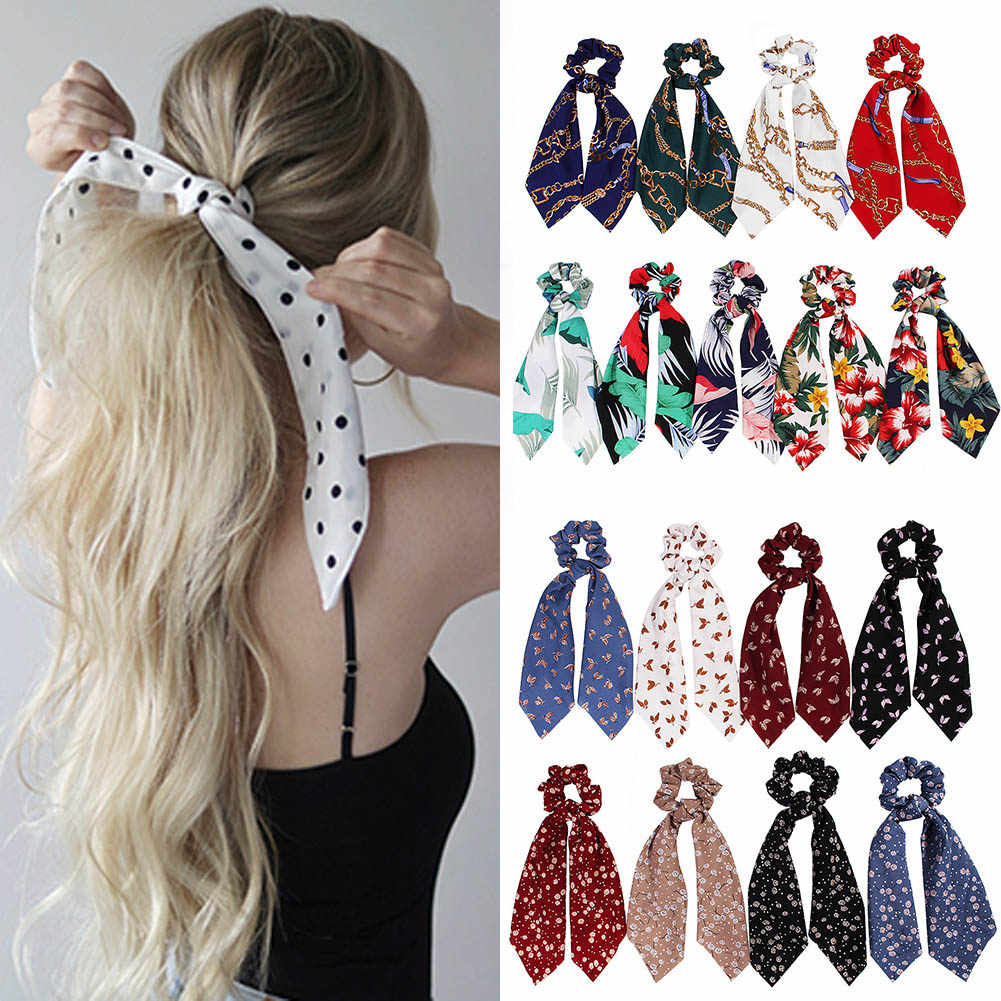 summer  Ponytail Scarf Elastic Hair Rope for Women Hair Bow Ties Scrunchies Hair Bands Flower Print Ribbon Hairbands