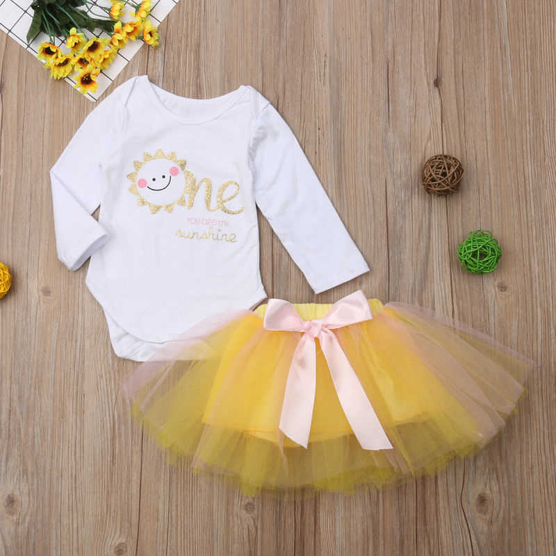 bf4f9770f Detail Feedback Questions about 0 2 Years Baby 1st First Birthday Romper  Infant Girl Tops Bodysuit Tutu Dress Party Outfit Set you are my sunshine  on ...