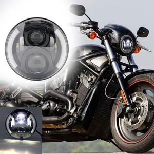 "Image 2 - 7"" Inch H4 LED moto Headlight For Harley Davidsion Softail Slim Fat Boy 7inch Halo Angel Eye DRL Led Motorcycle Headlamp"