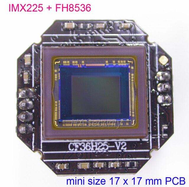"Mini 17x17 مللي متر AHD M (720P) 1/3 ""سوني Exmor IMX225 CMOS الاستشعار + FH8536 كاميرا تلفزيونات الدوائر المغلقة PCB لوحة تركيبية (أجزاء اختيارية)"