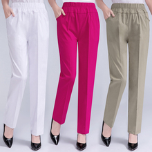 Spring Summer Women Thin Elastic Waist Casual Straight Pants Female Solid Color Trousers Plus Size Clothing