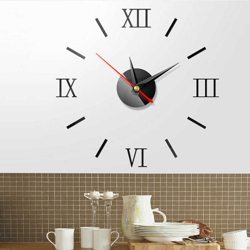 3D Large Modern Gesign Wall Clocks Mirror Sticker Big Stickers Home Decor Decorative DIY Living Room Bedroom Fashion New Hot