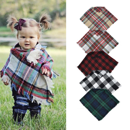 Children Kids Winter Check Print Scarf Tassel Tartan Neck Warmer Lot Wrap Shawl