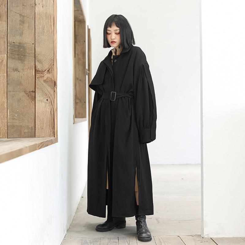 Per Femminile Trench Di Modo Temperamento Solido In Donne Black Primavera  2019 Nuovo E Colore Le Cappotto ... b30566c0175