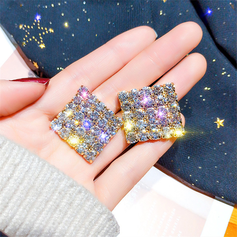 FYUAN Rhinestone Geometric Stud Earrings For Women Girl New Bijoux Gold Color Square Crystal Earrings Statement Jewelry Gifts