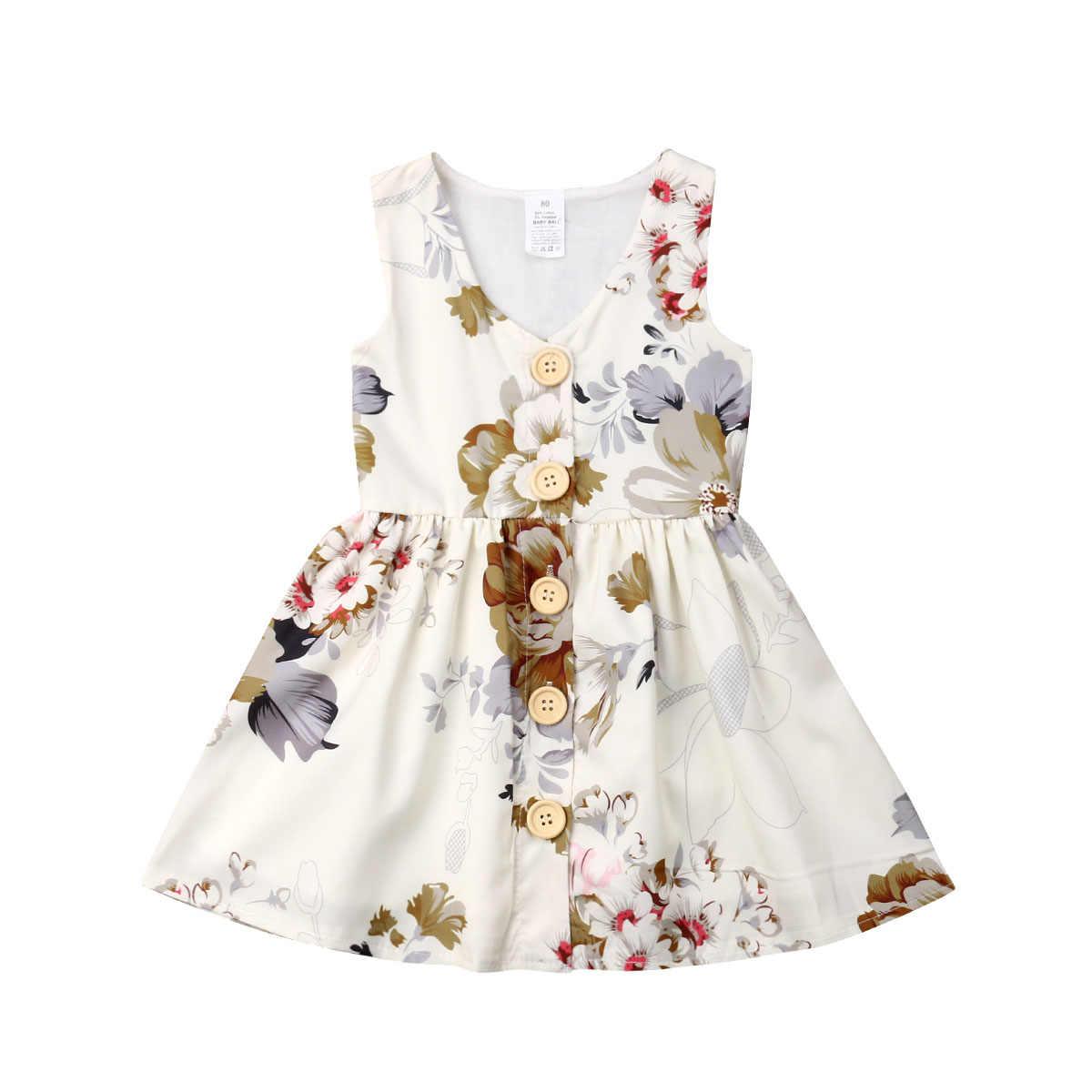0b8f0c8f3b 6M-5Y Children Girls Dress 2019 Summer Sleeveless Button V-neck Floral  Bobho Sundress