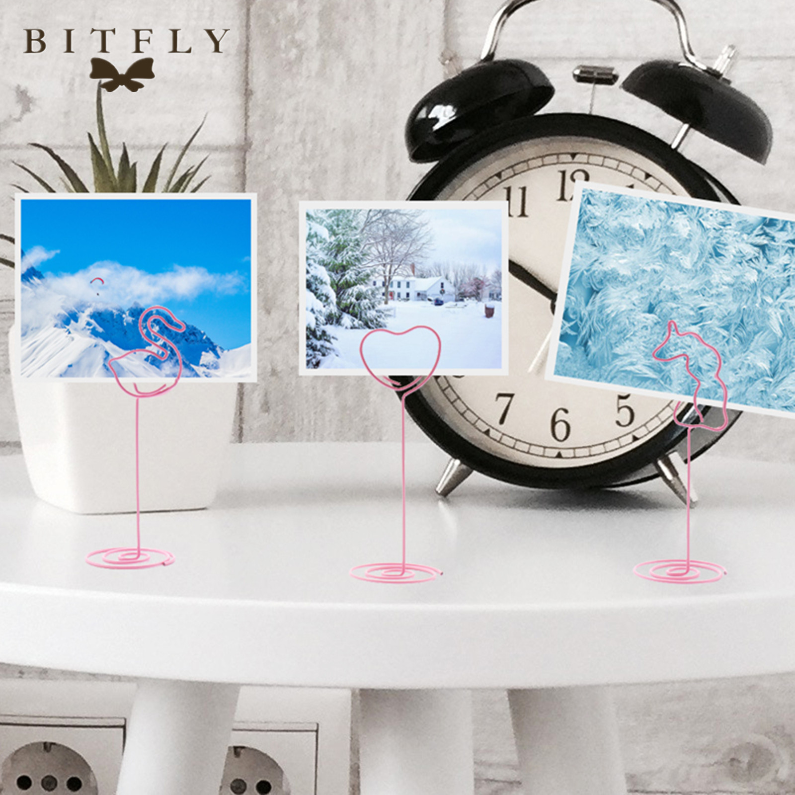 BIT.FLY Birthday Party Unicorn Table Photo Clips Romantic Wedding Place Card Holder Flamingo Desk Notes Party DIY Decorations