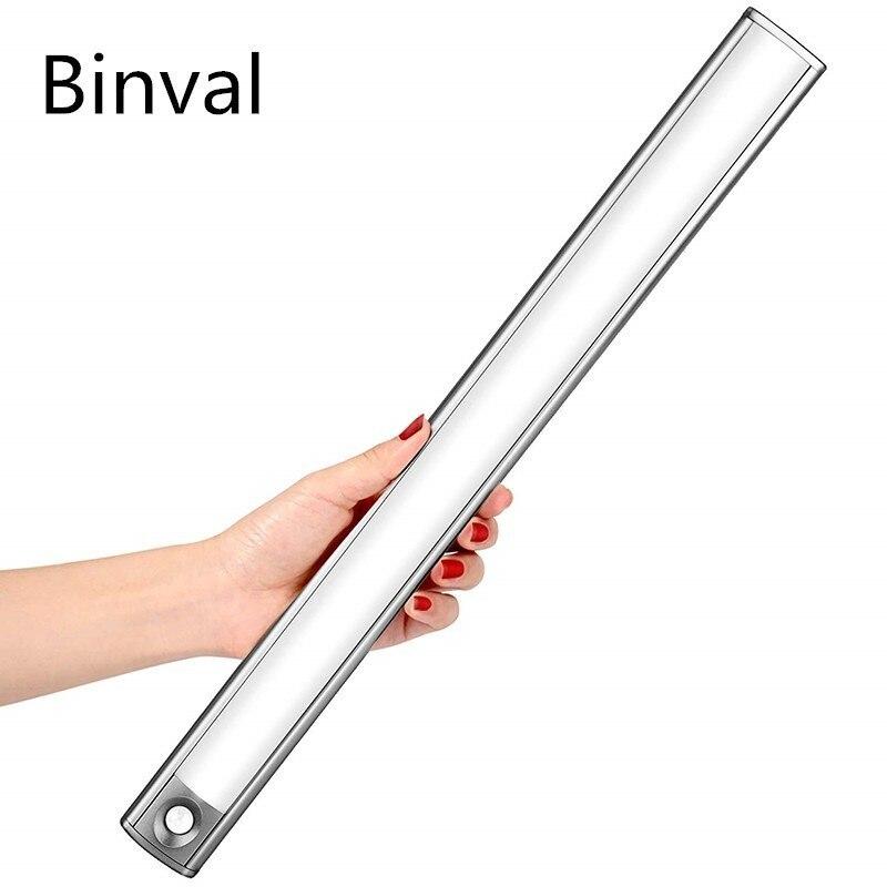 Binval USB Rechargeable LED Motion Sensor Under Cabinet Light Closet Light Wireless Night Light for Wardrobe