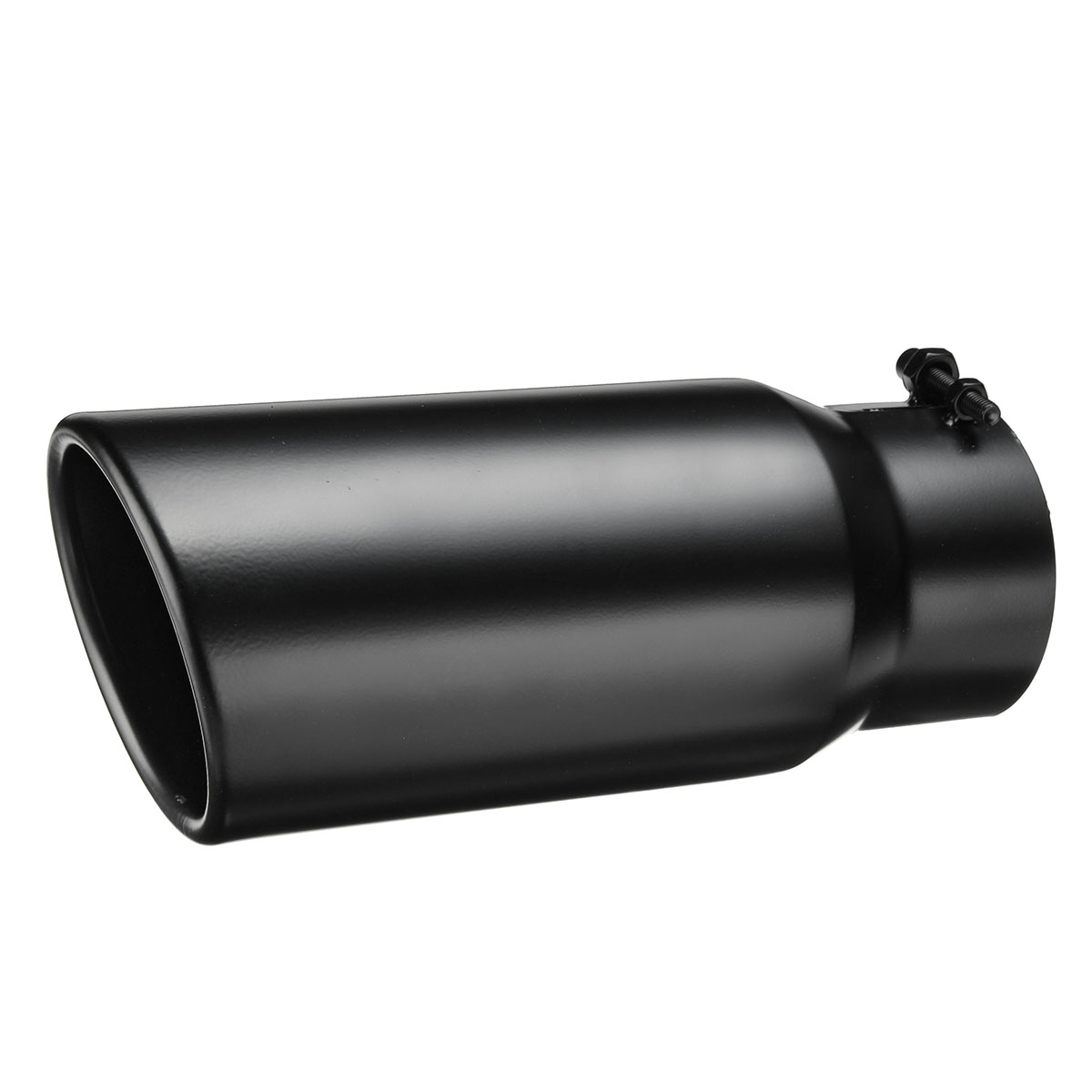 "4/"" Inlet 5/"" Outlet Double Wall 12/"" Long Black Diesel Exhaust Tip"