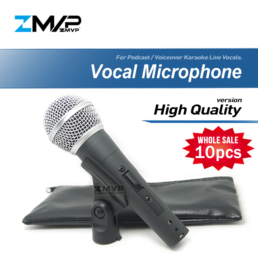 10pcs lot High Quality Version SM58SK Live Vocals Karaoke Dynamic 58S cardioid Wired Microphone Podcast Microfone