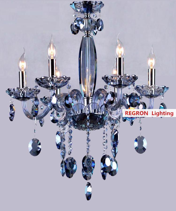 Chess room Mini blue crystal chandelier crystal lamp for restaurant Bar hanging blue lighting modern children Kids Led Fixtures