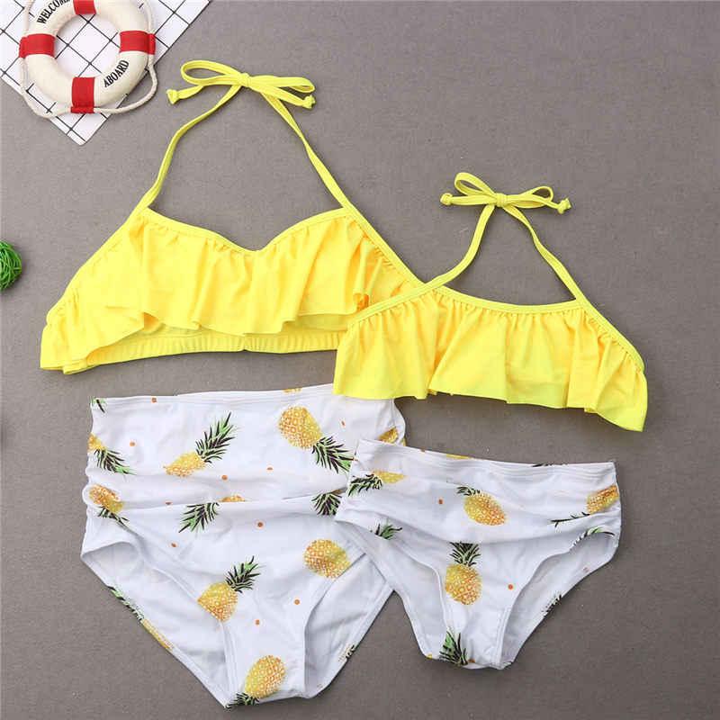 fa59b4c6cf Family Matching Swimwear Mother Father Kids Swimsuit Fruits Pineapple Bathing  Suit Women Girls Bikini Men Boys