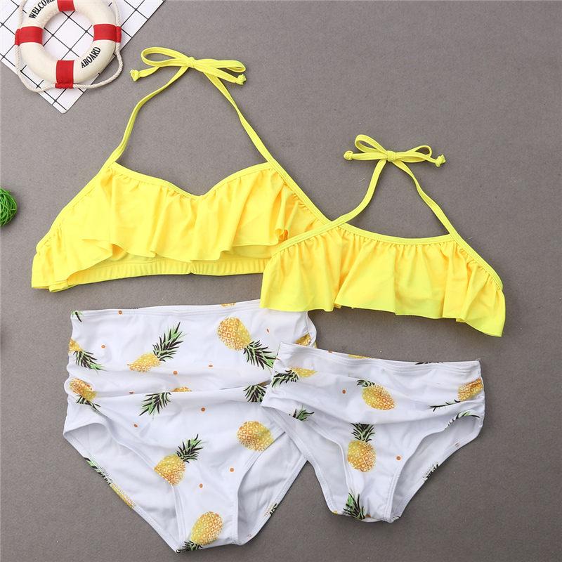Family Matching Swimwear Mother Father Kids Swimsuit Fruits Pineapple Bathing Suit Women Girls Bikini Men Boys Trunks Beachwear