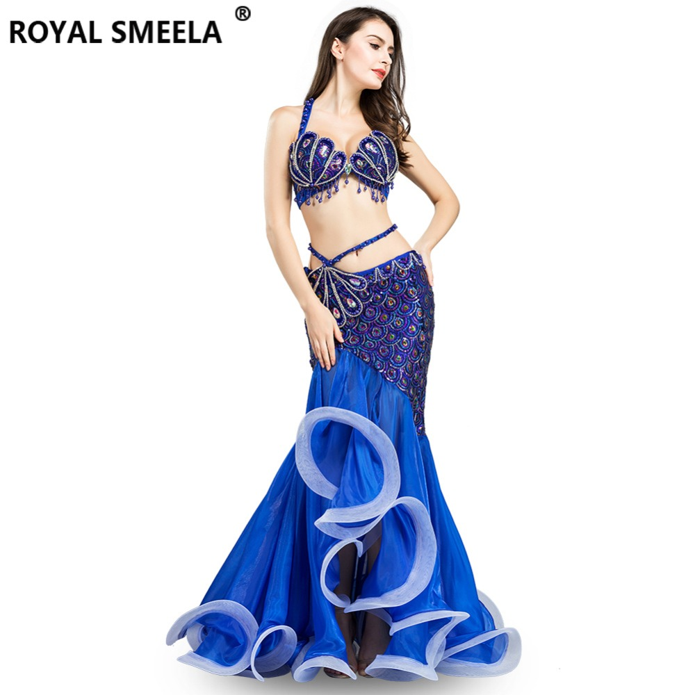 Hot Sale Professional Belly Dance Costume for Indian  Performance Outfits Bollywood Dancer Belly Dance Costume Sequined WQ8808(China)