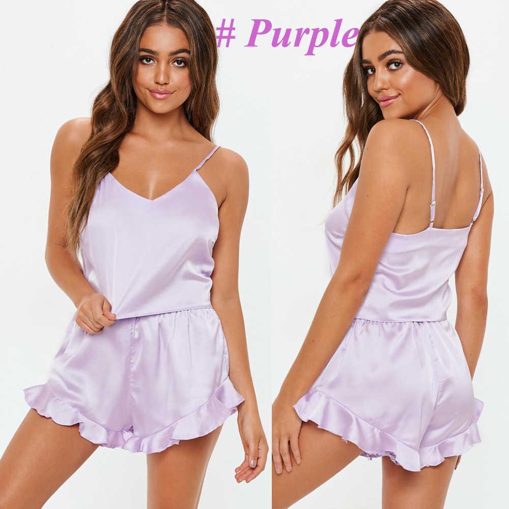 ... Women s Sleepwear Sexy Satin Pajama Set Black Silk Babydoll V-Neck  Pyjamas Sleeveless Cute Cami ... 2ea57885d