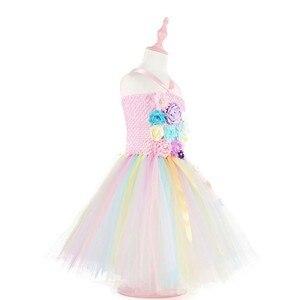 Image 5 - בנות תלבושות פרח חתונת שמלת ילדי unicorn שמלת ילדה טוטו נסיכת שמלת ילדים חמוד שמלות מכיל סרט ZH 1904