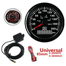 Universal 85mm GPS Speedometer Gauge Red LED Backlight 9-32V IP67 0-200MPH  0-300KM/H Black Background Bezel