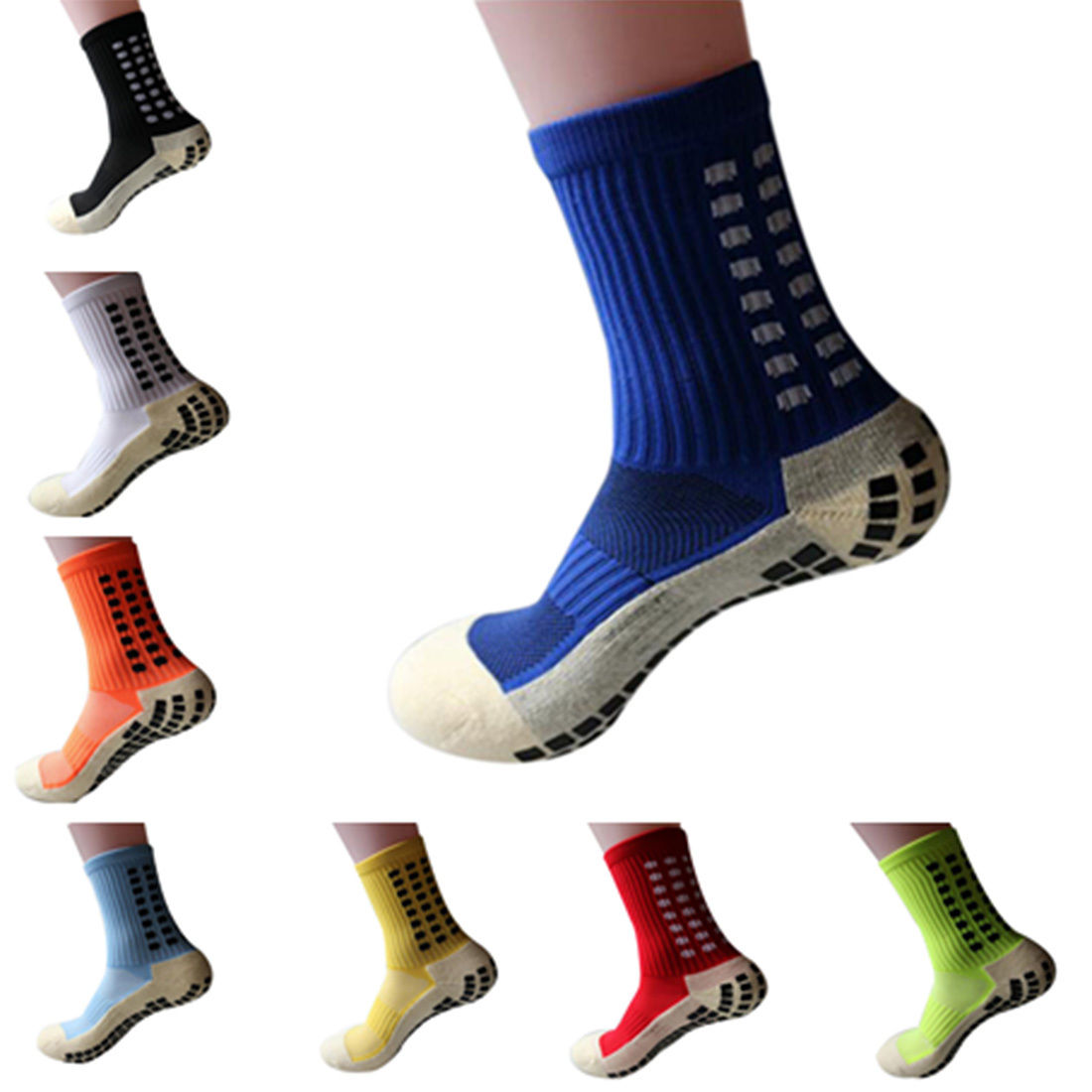 New Unisex Anti Slip Soccer Cotton Football Running Sport   Socks   Absorb Sweat