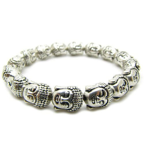 Rare Chinese Silver Carved Punk Bracelet Buddha Head Beads 10mm Exquisite Small Statues Gift Bracelet