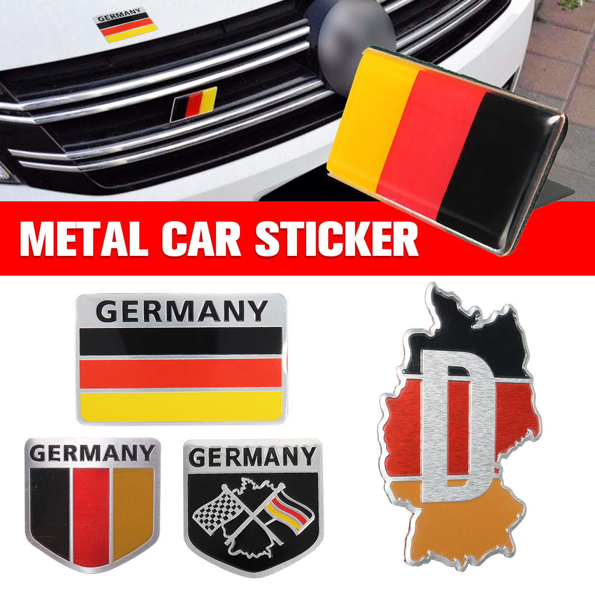 Stylish German Flag Logo Car Auto Front Grill Grille Emblem Badge Decal Sticker