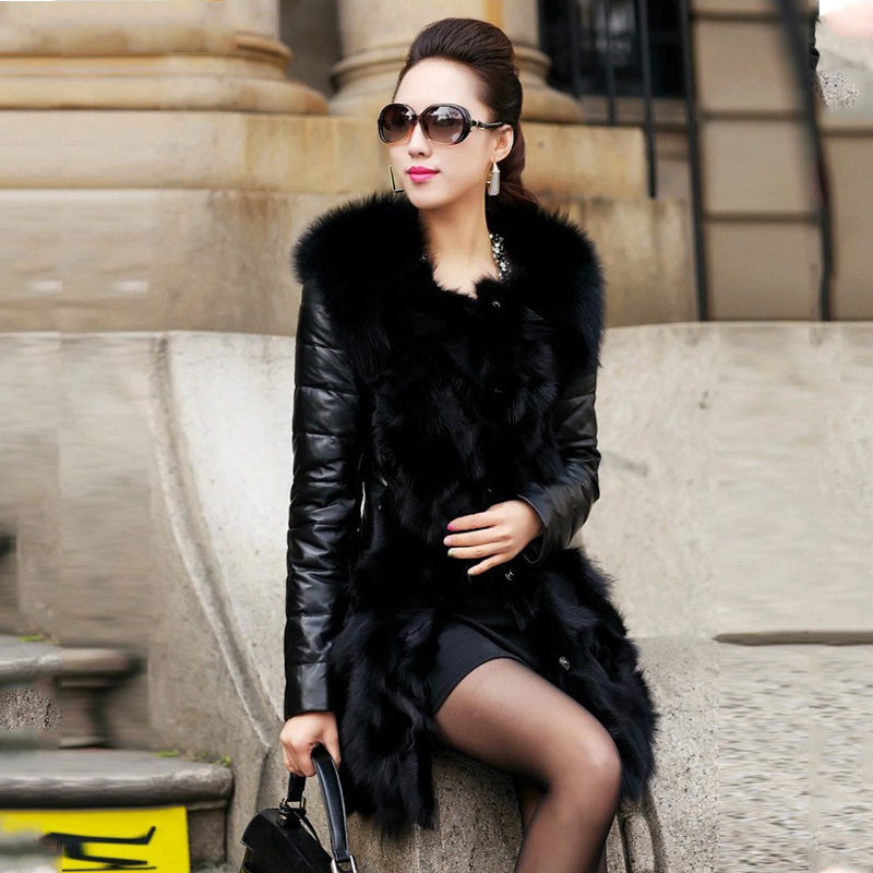 Mince Femelle Hiver M Qx447 Faux Black Femmes 3xl 2018 Vestes Outwear En Longue Manteau Nouvelle Offres Fourrure Spéciales Fausse Cuir Patchwork Parkas aSpSqAwx