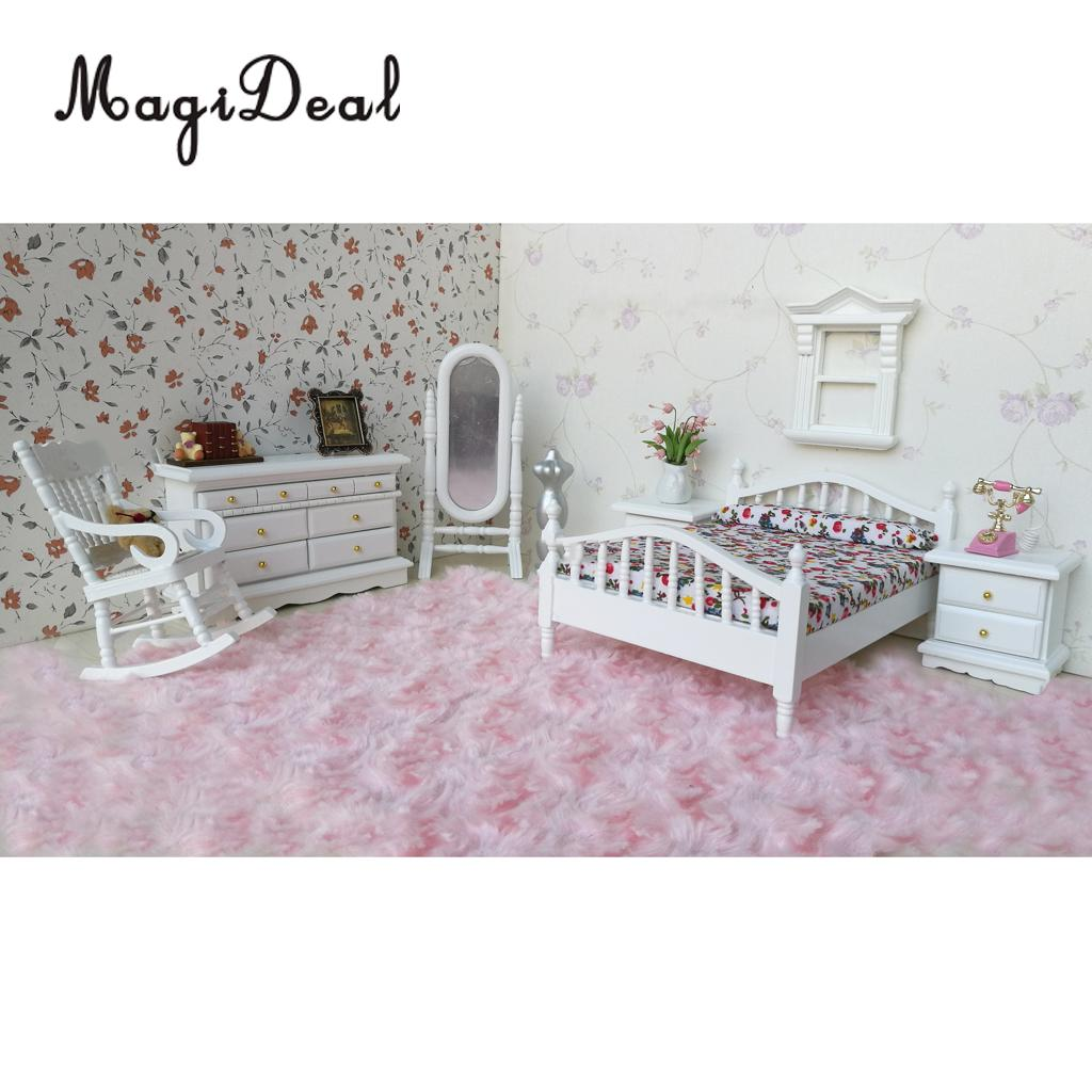 European Retro Design 1:12 Dollhouse Miniature White Wooden Bedroom Double Bed Dresser Mirror Chair Furniture Accs Kids Toys 1 12 scale dollhouse miniature furniture retro european palace bedroom bed 10339
