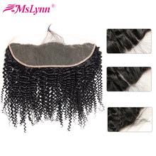 Afro Kinky Curly Hair Lace Frontal 13x4 Lace Frontal Closure Brazilian Hair Weave Closure Non Remy Human Hair Closure Mslynn(China)