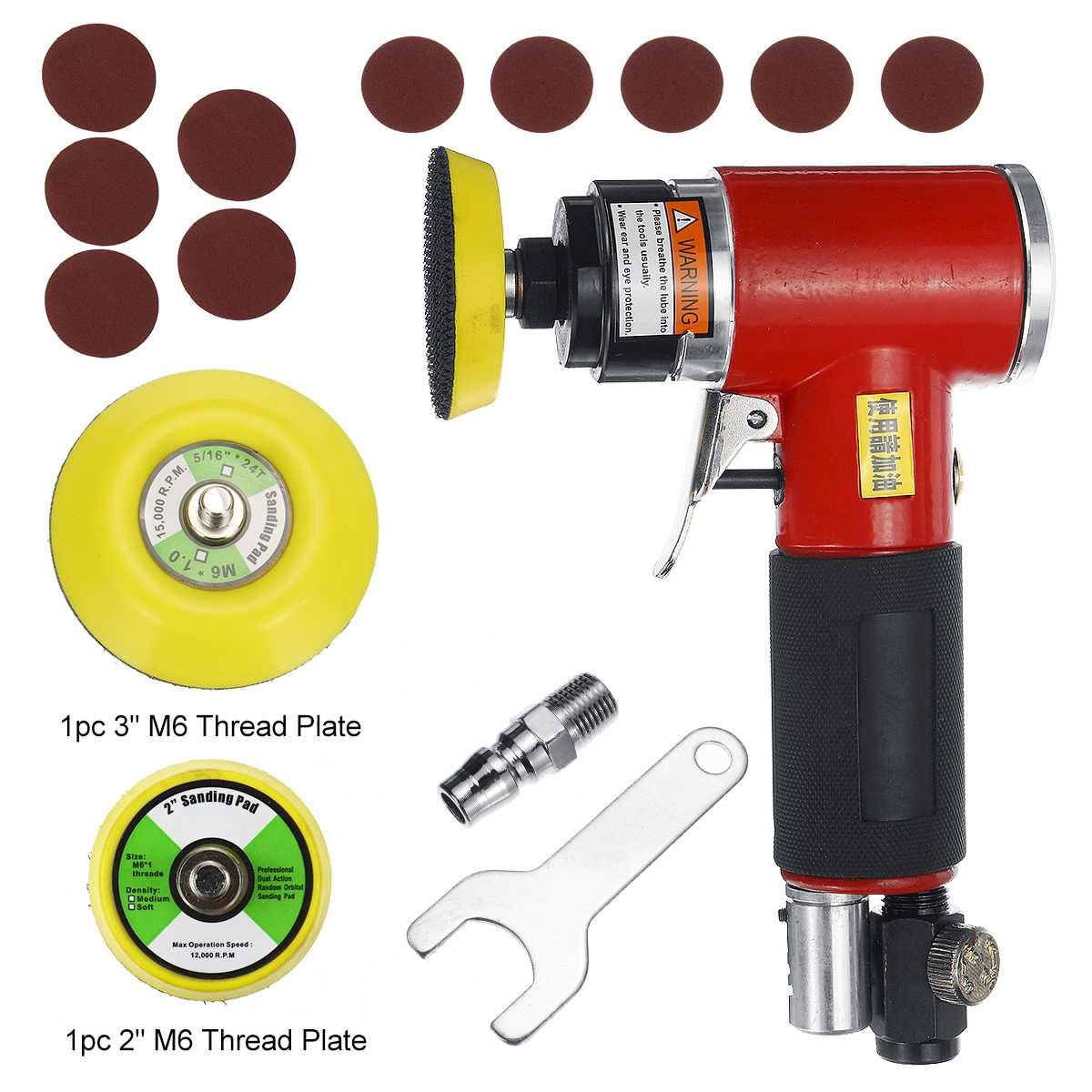 5 Inch High-speed Mini Pneumatic Sanding Machine Air Sander With Push Switch And Sanding Pad For Polishing Grinding Tools