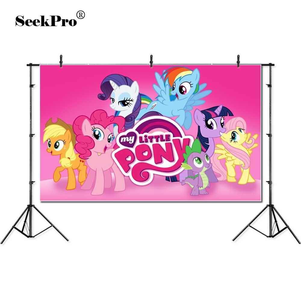 My Little Pony Pesta Ulang Tahun Foto Kartun Latar Belakang Baby Pink Prop Latar Belakang Untuk Foto Studio Photocall Fotografi Latar Belakang Background Aliexpress