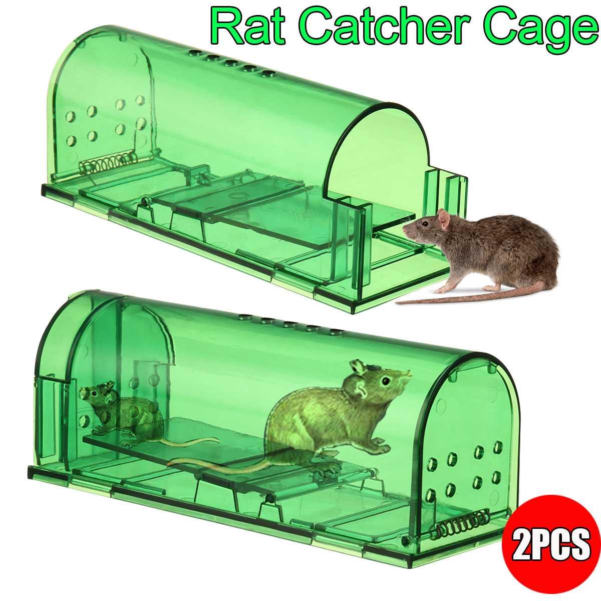 2PCS Mouse Trap Case Plastic Reusable Rat Catcher Cage Rodent Pest Humane Large Live Rodent Outdoor Indoor Garden Mousetrap